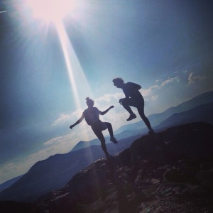 Random image of my friend and I dancing on a mountaintop