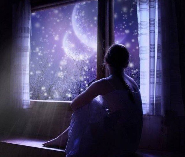 girl window night sky